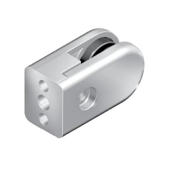 Glass panel clamp, die-cast zinc, with mounting kit