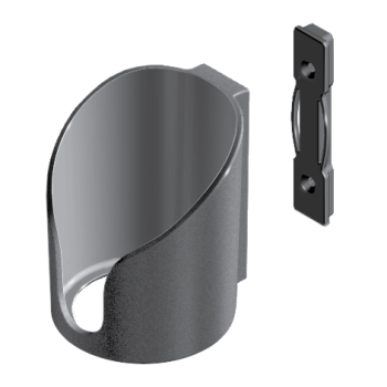 Cupholder, open bottom, h=118m, di=79mm, plastic, black