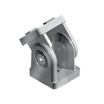 Pivot Joint 40 x 80, with slot fixation for slot 8/10, die-cast zinc, alu colour lacquered