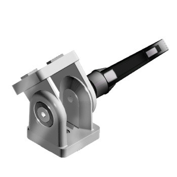 Pivot Joint 40 x 80 with clamping handle and slot fixation for slot 8/10, die-cast zinc, alu colour lacquered