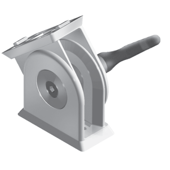 Pivot Joint 45 x 90 with clamping handle and slot fixation for slot 8/10, die-cast zinc, alu colour lacquered