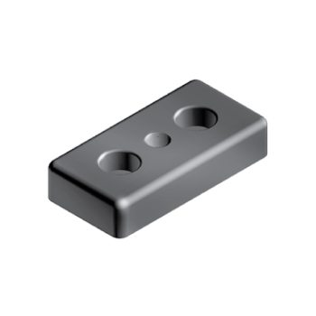 Transport and Base plate 50, bolt-down holes for M12, 50x100, M14, die-cast zinc, black