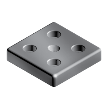 Transport and Base plate 45, bolt-down holes for M12, 90x90, M16, die-cast zinc, black