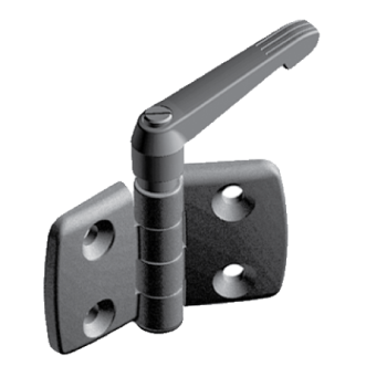 Plastic combi hinge with locking lever 45/45, for Slot 10, non-detachable