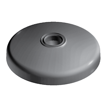 Base for swivel feet, D40 with anti-slip plate, die-cast zinc, without Bolt-down Holes