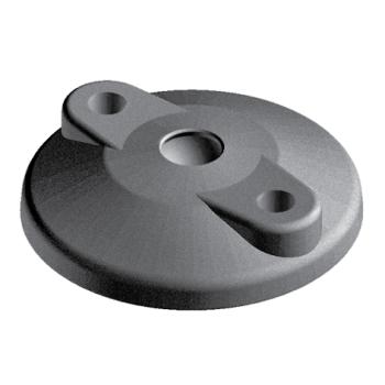 Base for swivel feet, D80, nylon, with open Bolt-down Holes