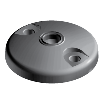 Base for swivel feet, D80 with anti-slip plate , die-cast zinc, with Bolt-down Holes