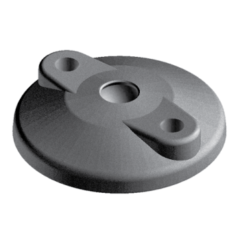Base for swivel feet, D100, nylon, with open Bolt-down Holes